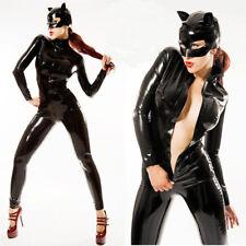 Black PVC catsuit and PVC mask clubwear wet look bodysuit mistress Size M