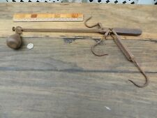 Rusty Antique Balance Beam Farm Scale Primitive Hand Forged Cast Iron w/ Weight
