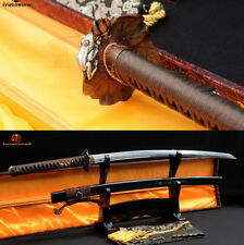 9260 Spring Steel Japanese Samurai Sword KATANA Full Tang Sharp Edge Brass Tsuba