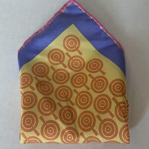 Ted Baker Yellow Orange Silk Pocket Square Bullseye Geometric Preppy Trad