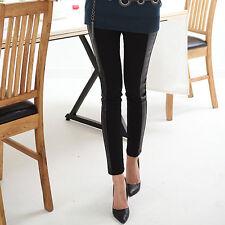 Elastic Woman Skinny Tights Fashion Leggings Cotton+Faux Leather Black One Size