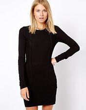 MANGO Ribbed Bodycon Dress  - Large - Black - Brand New