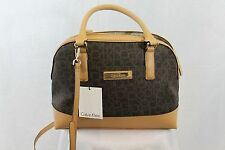 Calvin Klein Saffiano Leather Satchel Purse Brown Shoulder Logo MSRP $178 NEW