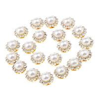 20pcs Rhinestone Faux Pearl Embellishments Button Flatback Wedding Dresses
