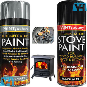 Best High Temperature Heat Resistant Coal / Stove Spray Paint Gas Fire 600°C New