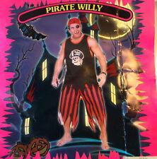 Pirate Willy Teen Costume Shirt Pants Bandana Eye Patch Choker OSFM NIP