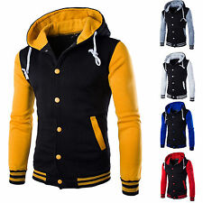 Mens Plain Hoodie Baseball Varsity College Button Jacket Sweatshirt Hooded Tops