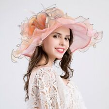Elegant Women Lace Wide Brim Kentucky Derby Sun Hat Wedding Tea Party Church Cap