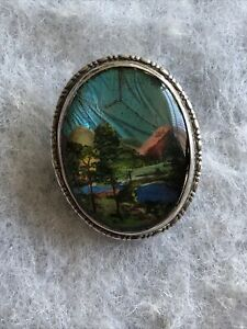 Antique Silver Brooch Butterfly Wing 1920s Picture Landscape Jewellery Jewelry