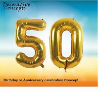 """Giant 50th Birthday Party 40"""" Foil Balloon Helium Air Decoration Age 50 GOLD"""
