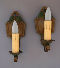 Pair 1920s Sconce Lights Antique Spanish Revival English Tudor Tuscan (3565)