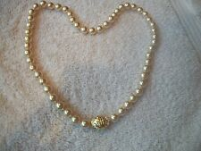 """NOLAN MILLER Signed Faux Pearl Austrian Crystal Clasp 30"""" Necklace  PERFECT"""