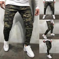 Mens Denim Skinny Jeans Camo Cargo Military Pants Slim Fit Joggers Work Trousers