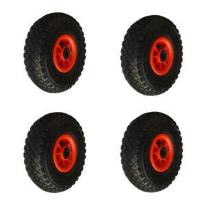 Lot 4 roues gonflable diable 260x85mm (3.00-4) à rouleaux alésage 20mm charge...