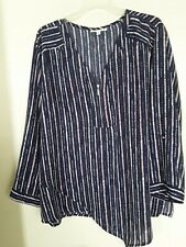 Notations 2X Navy Pink Striped V-Neck Roll Tab Long Sleeve Tunic Blouse