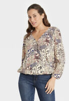 Women's Long Sleeve Top Knox Rose Multicolored Ivory L NWT's Sold Out Of Stock