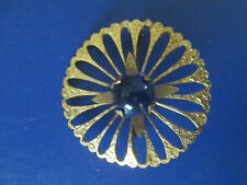 DECO BLOSSOM & BLUE GLASS PIN stars GOLD PLATE C-Clasp