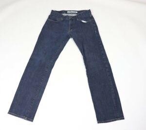 Express Mens 28x30 Dark Wash Regular Fit Straight Leg Denim Jeans Blue Cotton