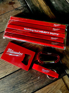 Milwaukee Tools Kit - 5pk Carpenter's Pencils, Bottle Opener & Carabiner Keyring