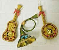 Vtg 50's 60's Christmas Ornament Lot Music Musical Instruments Theme Wicker