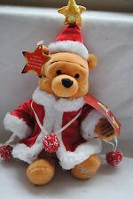 Winnie the Pooh Disney Store Christmas 2001 Beanie Soft Cuddly Bear Santa BNWT