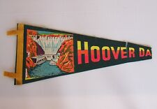 VINTAGE HOOVER DAM USA ILLUSTRATED 45x17cm SOUVENIR CLOTH WALL PENNANT FLAG