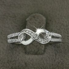 925 Silver Infinity Knot Friendship Love Promise Eternity CZ Ring Womens Jewelry