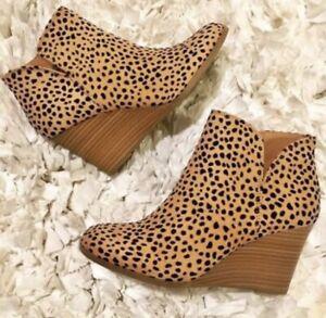 Womens Cheetah Print Wedge Bootie - Soda Brand