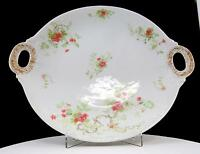 "JP JEAN POUYAT LIMOGES FRANCE RED FLORAL HANDLED 11 1/2"" CAKE PLATE 1891-1932"