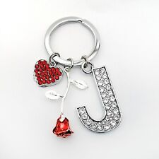 Diamante Crystal Initial, Red Rose & Crystal Heart Personalised Key Ring Gift