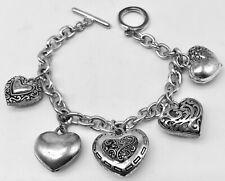 "Silver Tone Heart Charm 7"" Bracelet"