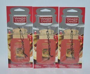3 YANKEE CANDLE SPARKLING CINNAMON CLASSIC CAR JAR AIR FRESHENER CLOSET HANGING