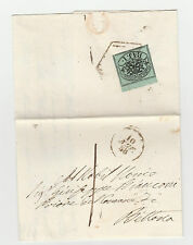 STORIA POSTALE 1858 STATO PONTIFICIO 1 BAJ BORDO DI FOGLIO + 8 FILETTI Z/1451