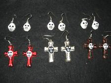 CHOOSE Two Pairs Skull & Cross Earrings Day of Dead / Halloween Mexican Folk Art