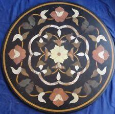"24"" round black Marble round Table Top Inlay Work Garden patio Decor"