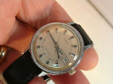Men's Vintage 1976 Timex Silver-Tone Wind-Up Watch w/ Day Date and Black Band