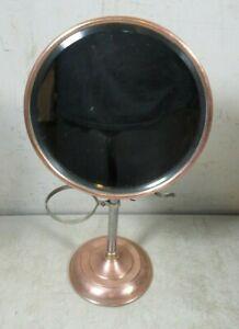 Antique Round Beveled Mirror Shaving Stand Copper Mixed Metal Brush Mug Holder