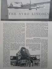 1/1946 ARTICLE 8 PAGES AVRO LINCOLN BOMBER CUTAWAY ECORCHE BRISTOL GUN TURRETS