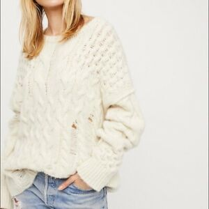 Free People Ivory Long Sleeve Destroyed Cable Knit Sweater Pullover Size L NWT