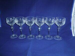 Set Of 6 Stuart Cut Lead Crystal Hock Glasses ~ Ludlow ~ Signed ~ Excellent