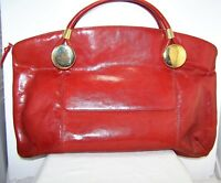 Rodo Italy LARGE Red Leather Handbag Purse with Bold Modern Hardware Vtg 1970's