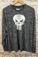 Punisher shirt top mens XL new Gray Black Wicking Soft Long Sleeve Skull G7