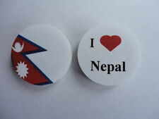 Nepal I Love Nepal Flag 25mm Button Lapel Pin Badge Set. New