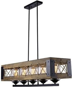 Chandelier 5-Light Single Tier Down Rod Cage Rustic Style with Clear Glass Shade