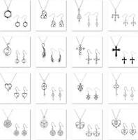 New Women Girl 925 STERLING SILVER pendant necklace earring hooks Jewelry Set