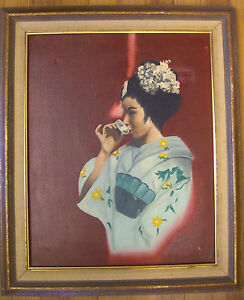 Vintage Mid-Century Japanese Geisha, Oil on Canvas by Irene Shein - Period Frame