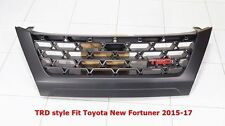 MATT BLACK ABS PLASTIC FRONT GRILLE TRD STYLE FIT TOYOTA NEW FORTUNER 2015-17