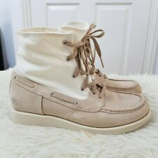 Timberland Roll Top Boots Size UK 6.5 EU 39.5 Beige Suede Leather Off White