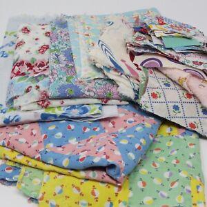 1 Pound Vintage FEEDSACK, Hand Stitched Quilt Top, Fabric Scraps