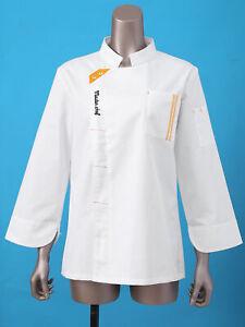 Top Unisex Long Sleeve Chef Coat Jacket Men Women Kitchen Work Cooking Uniform M